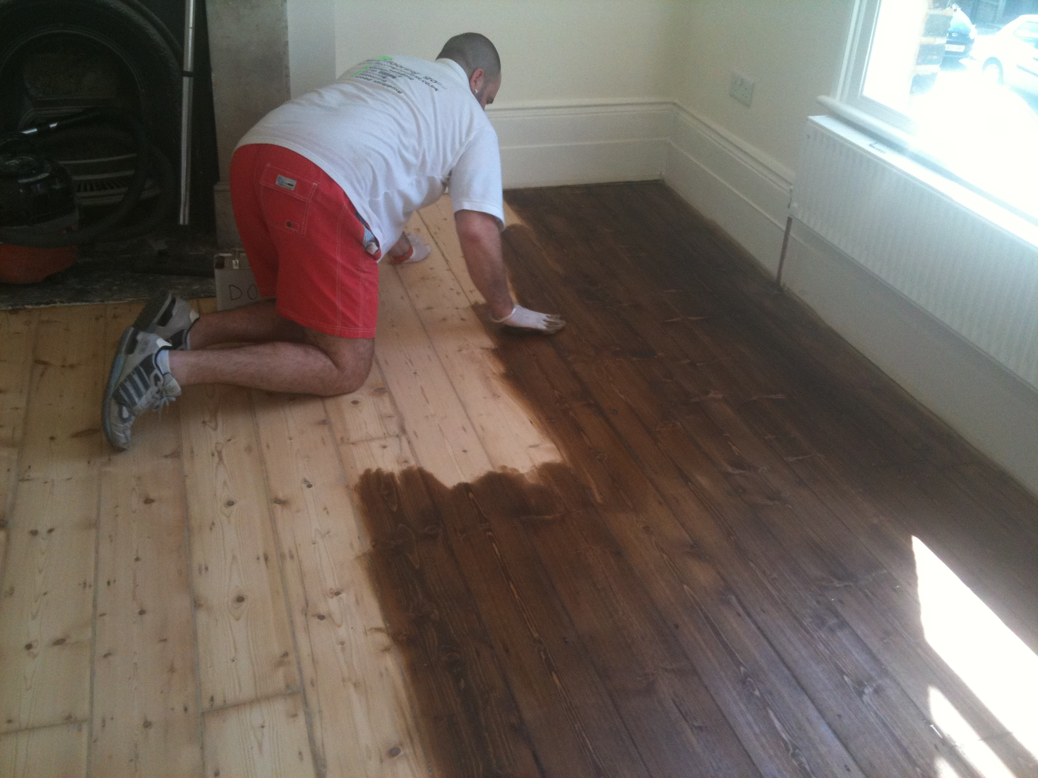 Staining hardwood floors darker flooring ideas home for Staining hardwood floors
